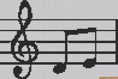 Alpha friendship bracelet pattern added by music note staff souund. Crochet Music, Crochet Cross, Crochet Chart, Cross Stitch Music, Counted Cross Stitch Patterns, Cross Stitch Embroidery, Knitting Charts, Knitting Patterns, Pony Bead Patterns