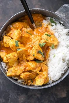 Overhead shot of prepared Slow Cooker Butter Chicken with rice