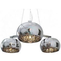 Lampa wisząca Crystal 3 szklane klosze ozdobione od wewnątrz kryształami nad stół do kuchni jadalni do salonu sypialni , Indeks: ZLP0076-03R - sklep online