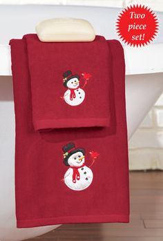 Embroidered Holiday Snowman Towel Set