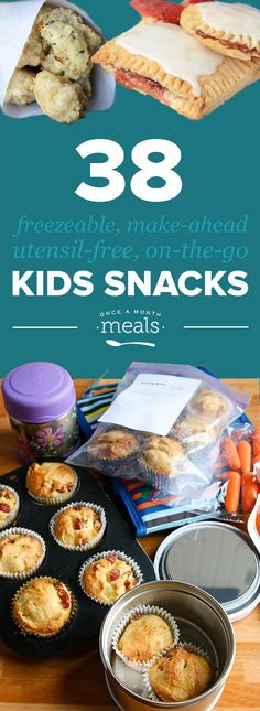 Kids Meals Save time and money with these Freezer Friendly, On-the-Go Kids Snacks! - In need of snacks to take with you while you and your family are on-the-go this summer? Look no further than this freezer AND kid friendly list! Baby Food Recipes, Gourmet Recipes, Snack Recipes, Cooking Recipes, Cooking Ideas, Cooking Bacon, Cooking Turkey, Appetizer Recipes, Easy Recipes
