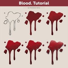 Tutorial by Anastasia-berry on DeviantArt Digital Painting Tutorials, Digital Art Tutorial, Art Tutorials, Concept Art Tutorial, Drawing Blood, Digital Art Beginner, Blood Art, Coloring Tutorial, Drawing Reference Poses