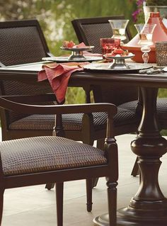 """Create a truly inviting dining experience with the sleek and handsome Berkeley Dining Collection; constructed of classically styled aluminum and a hidden 2"""" thick cushion of reticulated foam."""