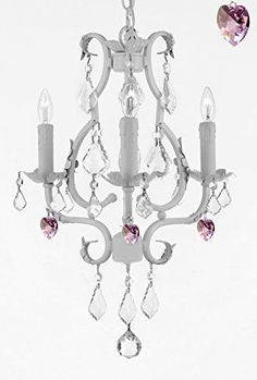 "Wrought Iron Mini Chandelier With Empress Crystal (Tm) Chandelier Lighting 3 Lights 21"" X 17"" - Good For Kids' And Girls Bedrooms, Kitchen, Bathroom - G7-B21/White/846/3"
