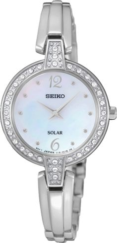 Seiko SUP287 Women's Watch Solar Swarovski Crystal Bezel Silver Stainless Steel
