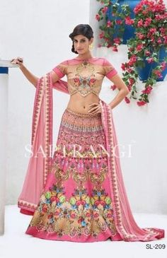 Pure Silk Printed Pink Buy Lehenga Choli Online In India ,Indian Dresses - 2