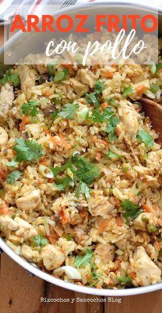 Arroz frito con pollo. Receta de aprovechamiento, práctica y rendidora para toda la familia! Chow Mein, Kitchen Recipes, Fried Rice, Love Food, Chicken Recipes, Food Porn, Food And Drink, Lunch, Healthy Recipes