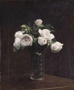 Blush Roses in a Glass, c.1860-1900 (oil on canvas), Fantin-Latour, Ignace Henri Jean (1836-1904) / Dublin City Gallery, The Hugh Lane