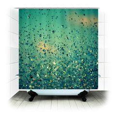 Custom Fabric Shower Curtain - Lullaby - Blue raindrops sky clouds, Original Photography by RDelean Designs - pink, flower,