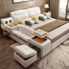 Leather bed tatami bed simple modern leather bed double bed m multifunctional bed smart bed wedding bed master bedroom Small Master Bedroom, Bedding Master Bedroom, Bedroom Bed Design, Bedroom Furniture Design, Modern Bedroom Design, Bed Furniture, Bedroom Sets, Bedroom Decor, Smart Furniture