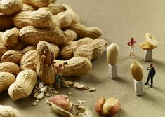 MINIMAM food photography - Pierre Javelle Akiko Ida Since gastronomy fanatics Pierre Javelle and Akiko Ida have been photographing a series of playful dioramas, called MINIMIAM, combining miniature figurines and various kinds of food. Creative Photography, Food Photography, Micro Photography, Amazing Photography, Miniature Calendar, Miniature Photography, Graphisches Design, Kunst Online, Colossal Art
