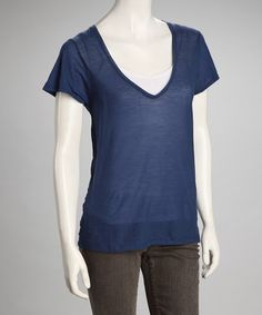 American Vintage Indigo Linen-Blend V-Neck Top