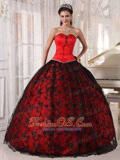 Gorgeous Red Quinceanera Dress Sweetheart Tulle and Taffeta Lace Ball Gown  http://www.fashionos.com  http://www.youtube.com/user/fashionoscom?feature=mhee  The matching of black and red always creates a classical look.Special designed sweetheart neckline encrusted on corset bodice. A princess cut accents your waist. A layer of soft black lace covered on the red lining creates a intensive visual impact.The back is closed by a lace up back with a big bow.Unique design, just for you!