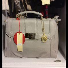 Vieta Grey Handbag Beautiful grey handbag with gold details. Inside and back pockets. Brand New!! Vieta Bags