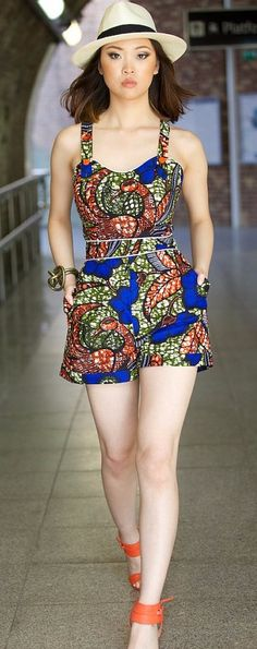 TIYANA African print playsuit by GITAS PORTAL. A fun playsuit that's great this summer. Perfect holiday piece. Ankara | Dutch wax | Kente | Kitenge | Dashiki | African print dress | African fashion | African women dresses | African prints | Nigerian style | Ghanaian fashion | Senegal fashion | Kenya fashion | Nigerian fashion | Ankara crop top (affiliate)