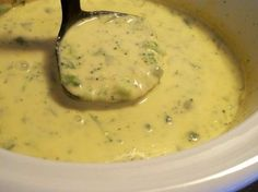 Crockpot Broccoli Cheddar Soup!  32 oz frozen broccoli (fresh doesn't stand up well)  1 16 oz can of cream of chicken 1 16 oz can of cream of mushroom 1 small sliced yellow onion 2 gloves garlic minced (1.5 tsp) 1 (14 oz) can of chicken broth 1/4 stick butter 1 SMALL  block Velvetta cheese  1 Tsp flour Salt and pepper to taste  mince garlic, slice onion finely, and throw it all in crock along with everything else. Velvetta breaks up best of cut in small blocks. Cook on high for 4-5 hrs