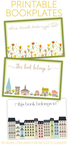 REALLY CUTE!  free printable bookplates