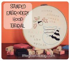 Little Gray Fox: DIY Stamped Embroidery Hoop