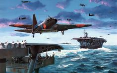 Battle of Midway - aircraft carrier Akagi followed by Soryu as a Nakajima B5N takes off from the flight deck of the latter.