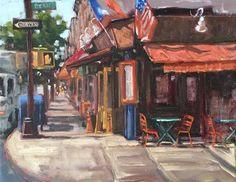 "Daily Paintworks - ""Corner Cafe"" - Original Fine Art for Sale - © Deborah Newman"