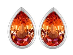 Original Star K(tm) 9x6mm Pear Shape Simulated Orange Mexican Fire Opal Earring Studs in 925 Sterling Silver