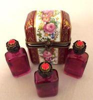 Beautiful Vintage Limoges France Trinket Box with 3 Perfume Bottles