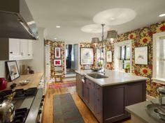 Functional kitchen with loads of character. #design #msd #kitchen #walkingfordshowhouse #farmhouse #butcherblock #claudiamillsstudio #osborne&little #red #purple