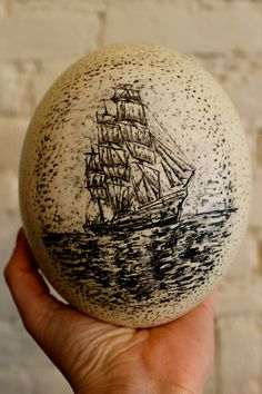Greenhorn   Classic Maritime Scrimshaw Ostrich Egg by LeviathanBell, $500.00    Leviathan Bell is inspired by a love of open water, uncharted territories, and the legacy of America's sailor-artists.