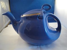 1940's Hall China Blue 6 Cup Teapot by moretreasuresfouryou, $55.00