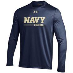 Navy Midshipmen Under Armour Football Sideline Tech Performance Long Sleeve T-Shirt - Navy