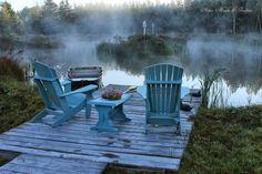 A little dock for two comfy chairs just like the pond at Aiken House & Gardens