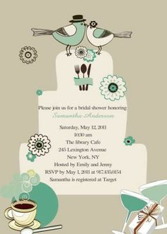 Printable love birds cake topper tea party bridal shower invitations EWBS027 |