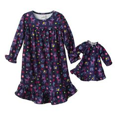 Girl and Doll Matching PJ's | Girl And Doll Matching Pajamas With Purple Woodland Animals
