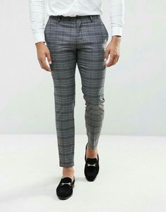 Jack & Jones Premium Slim Wedding Suit Pant in Check at asos com is part of Checked trousers outfit - Shop Jack & Jones Premium Slim Wedding Suit Pant in Check at ASOS Discover fashion online Mens Plaid Pants, Men Trousers, Formal Dresses For Men, Formal Shirts For Men, Checked Trousers Outfit, Pants Outfit, Men's Pants, Costume Slim, Pantalon Costume