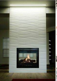 The Best Amazing Fireplace Tile Ideas for Your Living Room jon nuckels tile Modern Fireplace Tiles, Tiled Fireplace Wall, Fireplace Feature Wall, Tv Feature Wall, Contemporary Fireplace Designs, Fireplace Tile Surround, White Fireplace, Fireplace Remodel, Living Room With Fireplace