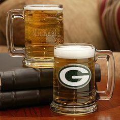NFL Glass Tankard - Packers - Groomsmen Gifts Unique - Cheap Groomsmen Gifts Ideas - Gifts For Groomsmen