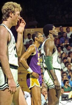 Larry Bird, Robert Parrish and Kareem Abdul Jab bar (Los Angeles Lakers)