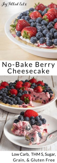 No-Bake Berry Cheesecake - Low Carb, Grain-Free, Gluten-Free, Sugar-Free, THM S - This Berry Cheesecake is bursting with fresh berries. The red, white, & blue colors make it perfect for the 4th of July or any other summer night.