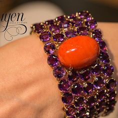 Coral and Amethyst bracelet by Margot McKinney