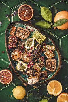 Turkish traditional lokum and fresh