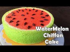 Bánh CHIFFON tạo hình DƯA HẤU | Watermelon Chiffon Cake (Soft Cotton Cake) | 수박 쉬폰 케이크 | スイカシフォンケーキ - YouTube