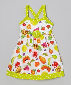 Another great find on #zulily! Lime Polka Dot Fruit Rosette Dress - Infant, Toddler & Girls #zulilyfinds
