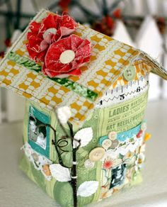 Such a cute way to use up scraps.  I could make a whole village of these.