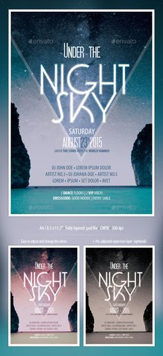 Night Sky Party Flyer — Photoshop PSD #party #alternative • Available here → https://graphicriver.net/item/night-sky-party-flyer/10036661?ref=pxcr