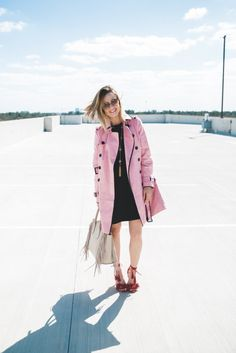 Pretty in Pink | Fringe look | How to wear a colored trench coat | Uptown with Elly Brown