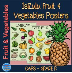 IsiZulu Fruit and Vegetable posters. Product includes one fruit poster and one vegetable poster. There is a picture of the fruit or vegetable with the isizulu name under it. Different Fruits And Vegetables, Asian Vegetables, Fall Vegetables, Healthy Vegetables, Veggies, Fruit Picture, Dairy Free Diet, Diet Food List, Easy Healthy Breakfast