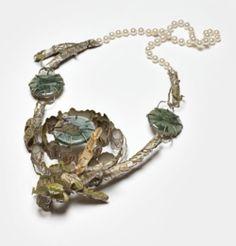 Exile: The Blackest Night, necklace 2008-2009; silver, gold, copper, plastic, epoxy, image, glass powder, paint, pearls (via Artist Profile: Nicole Polentas)