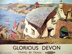 Old British Railways Glorious Devon poster, travel by train.