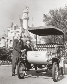 Walt and Lillian Disney besides Walt's car at Disneyland
