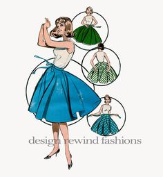 1950s Misses' CIRCLE SKIRT with Matching by DesignRewindFashions, $20.00